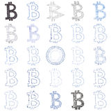 Hand-drawn Bitcoin-symboolcollage Royalty-vrije Stock Fotografie