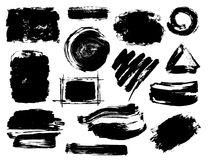 Hand drawn black abstract dry brush paint ink strokes. Textures royalty free illustration