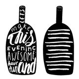 Hand drawn black alcohol bottle logo Royalty Free Stock Images