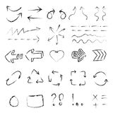 Hand-drawn black arrows set vector, sketched style. Vector set Stock Image
