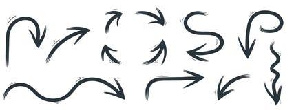Hand drawn black arrows royalty free illustration