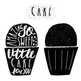 Hand drawn black cake, muffin logo with lettering quotes. Stock Images