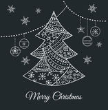 Hand drawn black Christmas tree with doodles Stock Photos
