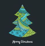 Hand drawn black Christmas tree with doodles Royalty Free Stock Images