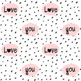 Hand drawn black confetti on white background simple abstract seamless vector pattern illustration with pink speech bubbles and lo Stock Image