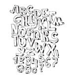 Hand drawn black font,  on white background. Vector alphabet, letters sequence from A to Z and numbers. Abc sequence, good Stock Photo