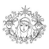 Star, Venus. Hand drawn, , black illustration in Ukrainian folk style vector illustration