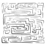 Hand drawn black labyrinth on royalty free illustration