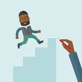 Hand drawn a black man climbing Stock Image