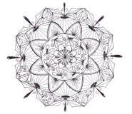 Hand drawn black mandala isolated on white background royalty free illustration
