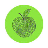 hand drawn black outline apple on green round background. Ornament of curve lines. Stock Photography