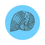 hand drawn black outline sea shell on blue round background. Ornament of curve lines. Stock Photo