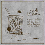 Hand drawn Black Russian cocktail Royalty Free Stock Photo