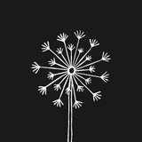 Hand drawn black silhouette dandelion on a white background.  Royalty Free Stock Photo