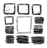 Hand drawn black squares and rectangles Royalty Free Stock Image