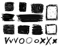 Hand drawn black squares and rectangles Stock Image
