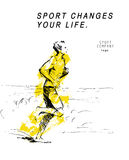 Hand drawn black stroked sketch of running human figure on white background. Good for sport poster or placard Royalty Free Stock Photos