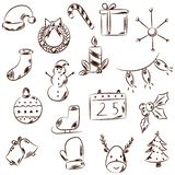 Hand drawn black and white Christmas icons. stock illustration