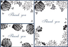 Hand drawn Black&White Flower cards preview Stock Photo