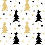 Hand drawn black white gold seamless vector pattern background illustration with abstract christmas trees and stars. Hand drawn black white gold seamless pattern Stock Image