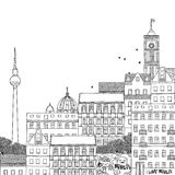 Hand drawn black and white illustration of Berlin Stock Photo