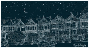 Hand drawn black and white illustration of the city of San Francisco at night vector illustration
