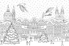 Hand drawn black and white illustration of a city in winter at Christmas time Stock Photos