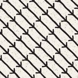 Hand drawn black and white ink abstract seamless pattern. Vector stylish texture. Monochrome geometric shappes paint brush lines Stock Photography