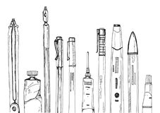 Hand drawn black and white ink illustration of drawing tools stock illustration