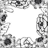 Hand drawn Black and White Ink Leaves and Flowers Background Round Frame vector illustration