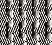Hand drawn black and white ink striped seamless pattern. Vector grunge lattice texture. Monochrome brush  strokes line. Hand drawn black and white ink striped Stock Photo