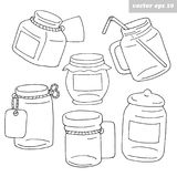 Hand drawn black and white jars vector illustration