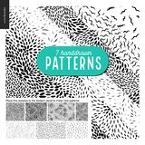 Hand drawn black and white 7 patterns set. Handdrawn black and white 7 patterns set. Fur or leaves seamless black and white patterns Royalty Free Stock Images