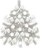 Hand drawn black and white sketch Christmas tree Stock Images