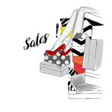 Hand drawn black and white sketch of shoes boxes and woman legs. Raster illustration Royalty Free Stock Photo