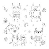 Cute autumn cats coloring pages. Hand drawn black and white vector illustration of cute cats, with paper cup, basket with mushrooms, pumpkin, umbrella, falling Stock Photos
