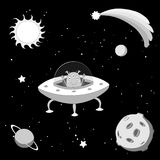 Cute alien in space. Hand drawn black and white vector illustration of a cute funny alien in a flying saucer in outer space, on a dark background with stars and Royalty Free Stock Photos