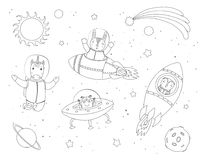 Cute animals in space coloring pages. Hand drawn black and white vector illustration of cute funny bunny, owl, unicorn astronauts, alien in space, with planets stock illustration
