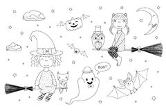 Cute witches coloring pages. Hand drawn black and white vector illustration of cute funny witch girls flying on broomsticks, pumpkin with wings, bat, ghost, owl vector illustration