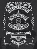 Hand drawn blackboard banner and ribbon vector design Stock Photos