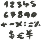 Hand drawn blackened numbers Stock Photos