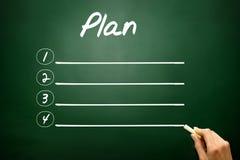 Hand drawn blank Plan list business concept on blackboard Stock Photos