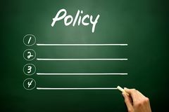 Hand drawn blank Policy list business concept on blackboard Stock Image