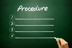 Hand drawn blank Procedure list concept on blackboard Stock Photography