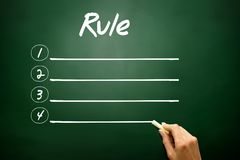 Hand drawn Blank Rule list concept on blackboard Stock Images