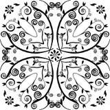 Hand-drawn bloemen en blad Stock Afbeeldingen