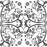 Hand-drawn bloemen en blad Royalty-vrije Stock Fotografie