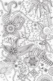 Hand-drawn bloemenkrabbelachtergrond Royalty-vrije Stock Afbeelding