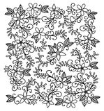 Hand-drawn bloemenpatroon Stock Foto's