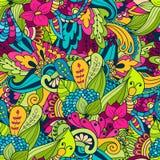 Hand-drawn bloemenpatroon van krabbelgolven, vat groene bladeren samen Stock Foto